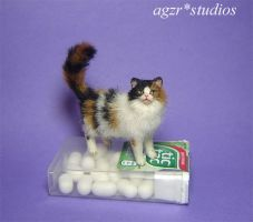 Ooak Handmade Long haired calico cat 1:12 scale by AGZR-STUDIOS