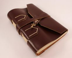 Brown Leather Book of Shadows with Ankh by GatzBcn
