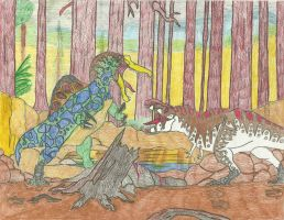 Red Wood Bout by Tyrannosaurs-rex92