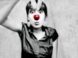 Cherry-clown bw by Frenzyy