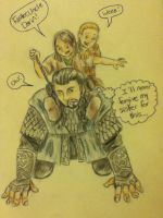 Thorin with little Fili and Kili by abreesey