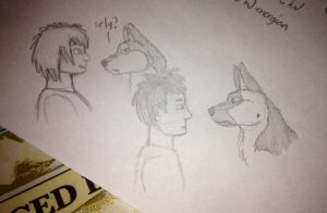 Zero and Tundra as humans D': sketching and design by ViherkiviJade