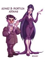 Gomez and Morticia Addams by Kravenous