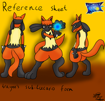 Wayne the Sub-Lucario Ref sheet by Threehorn