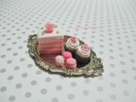 Dollhouse Miniature Pink Ombre Cake Dessert Tray by ilovelittlethings