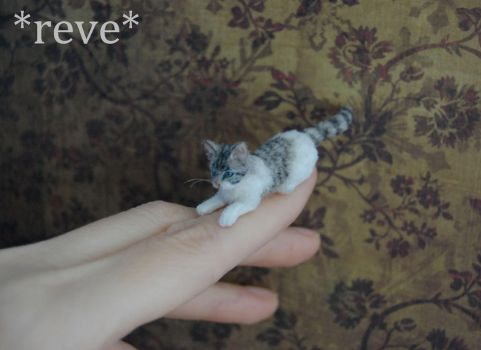 Handmade Miniature Tabby and White Cat Sculpture by ReveMiniatures