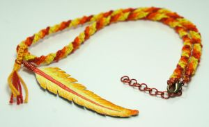 Phoenix Feather Macrame Necklace by AlaraFirewing