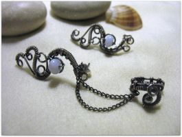 Set Of Earrings With Ear Wrap by MayaHandmade
