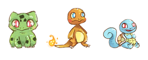 Kanto Starters by Teatime-Rabbit