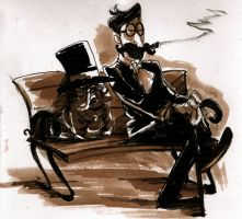 Gentleman and his dog by CurvedCat
