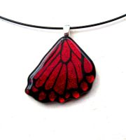 Fused Glass Butterfly Wing Red Rear by FusedElegance