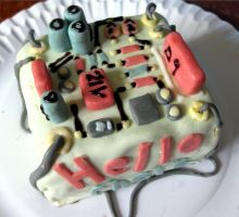 Circuit Board Cake by thanxforthefish