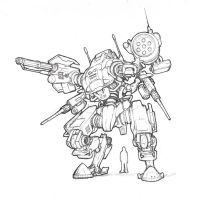 Semi-completed mech design by TickTockMan92