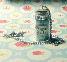 Bottle with blu pearls by Veil28