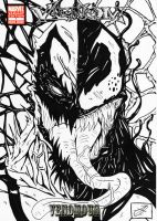 anti venom vs venom b w cover by darkartistdomain
