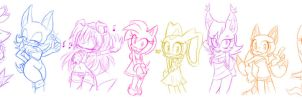 Sonic OC girls part 1 by HearlessSoul