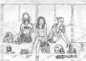 Liara, Tali, Miranda at school by Rated-N-for-NOOB