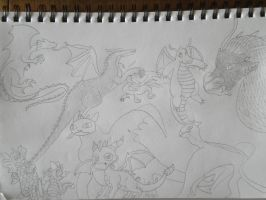 Many Dragons line art by woodywoodwood