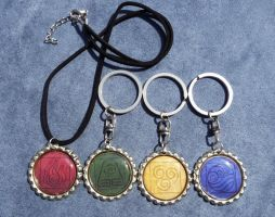 Avatar Bottlecap Keychains/Necklaces by leighanief