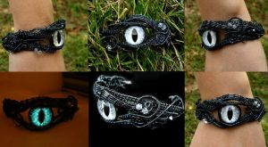 Custom Bracelet - Smoke Gunmetal Universe Eye by LadyPirotessa