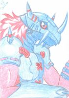ACEO - WarGreymon in red and blue by Oukami-SuGo