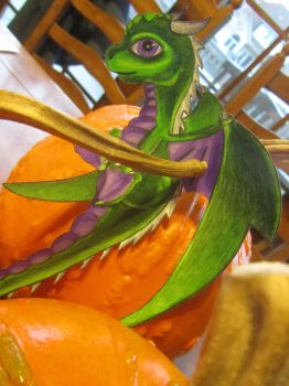 Paper Dragon and Pumpkins by Rivereyes123