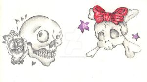 Kawaii skulls for tattoo design by Mymy-La-Patate