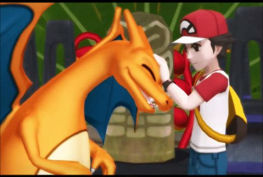 Red and his Charizard by AlexBlacklight