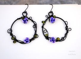 Goth ring earrings with purple roses by IanirasArtifacts