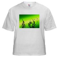 Flower Silhouettes On Green by BizarreTShirts