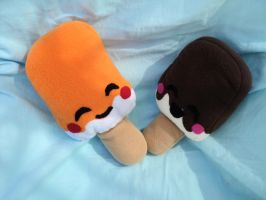 Orange and Chocolate Popsicle Mini plushies by XOFifi