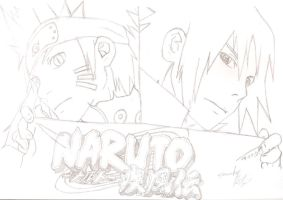 Naruto Bijuu Mode 2 and Sasuke EMS by IITheDarkness94II