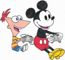 Mickey and Phineas by nintendomaximus