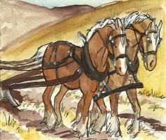 work horse ACEO series 3 by jupiterjenny