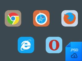 5 Flat Browser Icons by KL-Webmedia