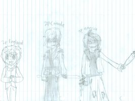 Random doodle of 2p England,Canada, and America by shadowlover40