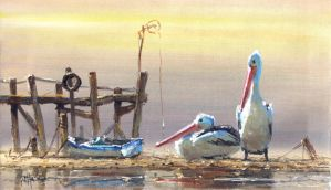 Coastal Oil Painting- 'Low tide Harry' by jo-hagan