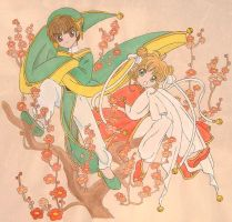 Sakura and Syaoran - Blossoms by Arwen-chan