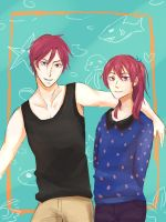Matsuoka Rin and Gou - Cute family by pop2810