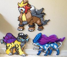 Legendary Dogs Suicune, Raikou, and Entei perler by Birdseednerd