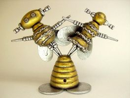 Buzz Bee Robot Bride Groom by buildersstudio
