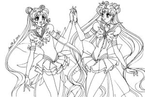Eternal Cousins lineart by MissPhiMouse