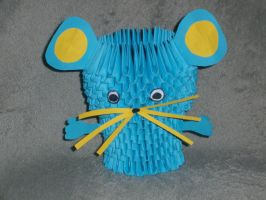Blue 3D Origami Mouse by Rescue-Is-Possible