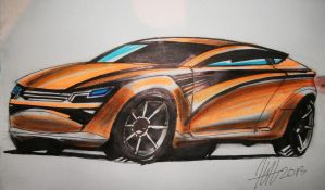 Orange Concept Car with markers by koleos33