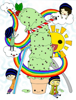Rainbows Icecream and Gorillaz by Nashiil