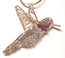 Hummingbird in Wire and Beads by Wiresculptress