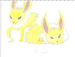 Two Young Jolteon by Mikey-Spillers