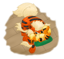 Growlithe and Arcanine by KyoRazorbladeWolf