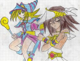 Dark Magician girl and Mana by Firecharmess