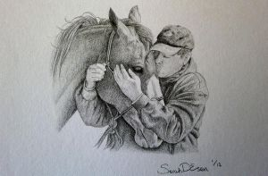 Rick Gore thanking a good little horse by SarahEsen